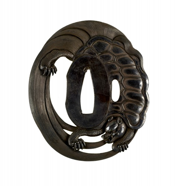 Tsuba with a Long-lived Tortoise (Minogame) with a Tail of Seaweed