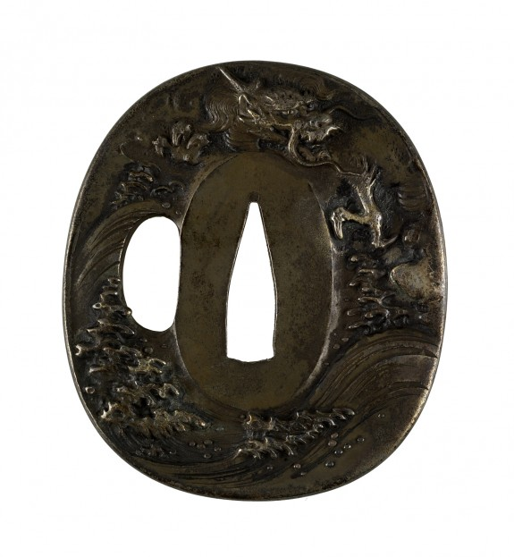Tsuba with Dragon and Waves