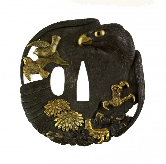 Tsuba with a Hawk, Sparrows and Chrysanthemums