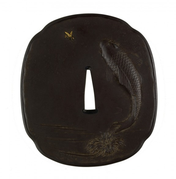 Tsuba with a Carp Leaping Out of Water