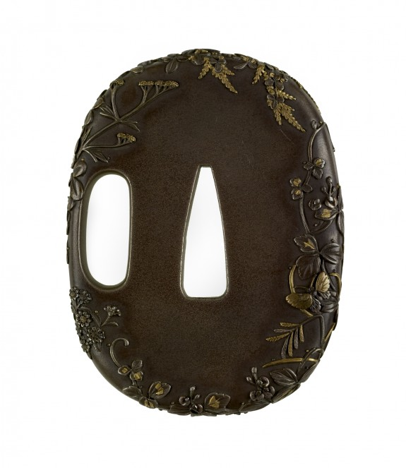 Tsuba with Autumn Grasses with Spider and Butterflies