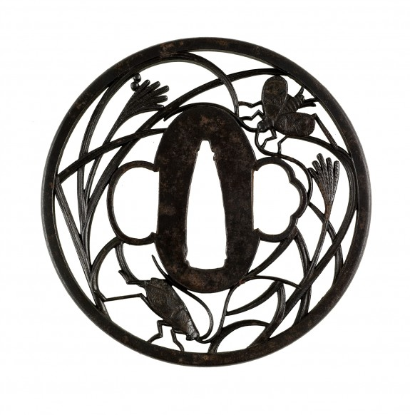 Tsuba with Insects in Autumn Grass