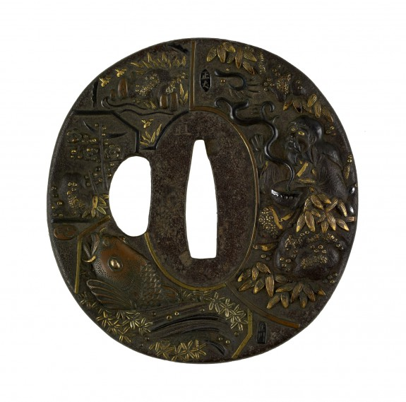 Tsuba with Seven Scenes by Different Artists