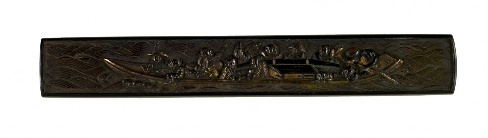 Kozuka with Soldiers and a Palanquin on a Boat