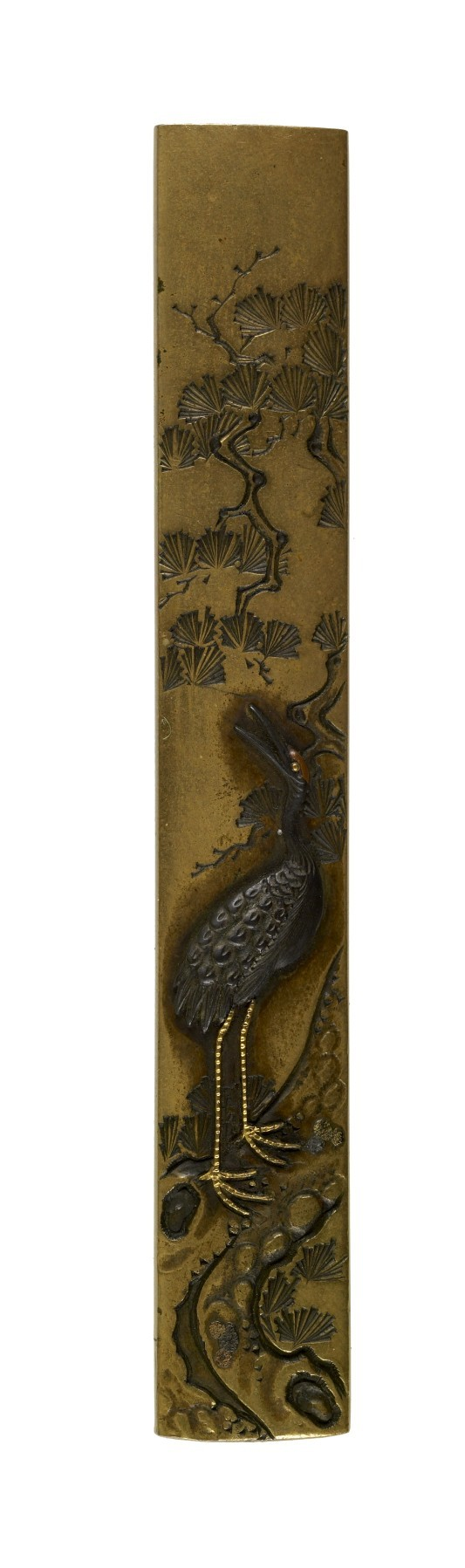 Kozuka with a Crane and Pine
