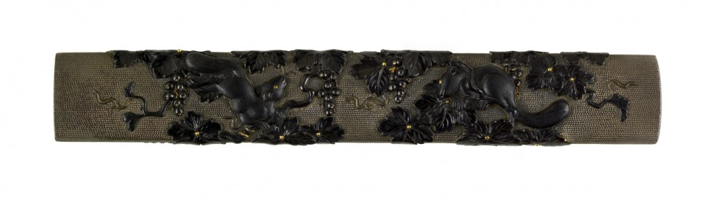 Kozuka with Two Squirrels Among Grape Vines