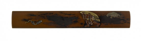 Kozuka with a Man Carrying a Reed Mat