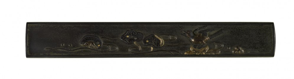 Kozuka with a Bird in a Stream with Lotus Leaves