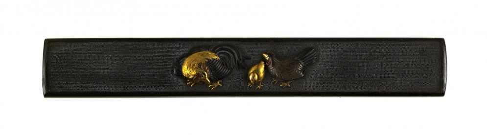 Kozuka with a Rooster, Chick and Hen