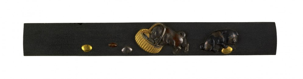 Kozuka with Two Puppies and Clam Shells in a Straw Basket