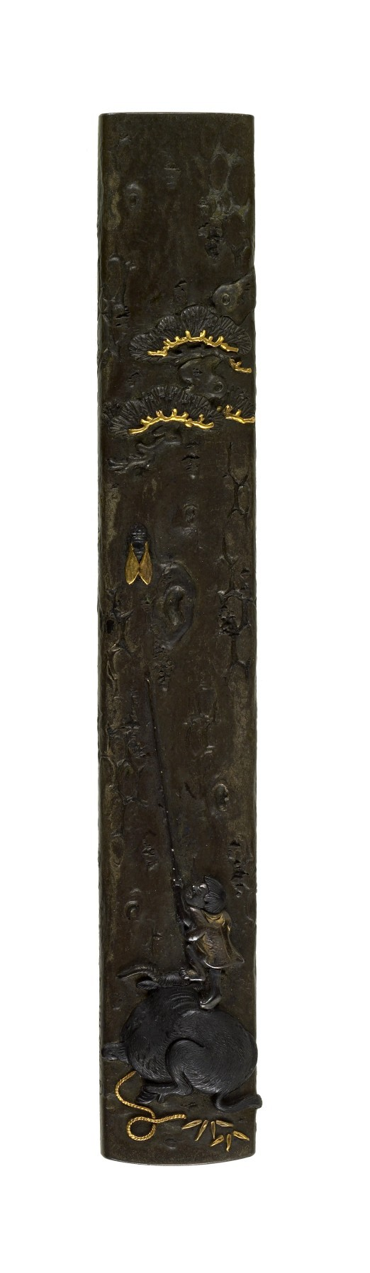 Kozuka with Boy Standing on an Ox Trying to Catch a Cicada