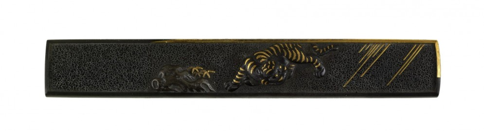 Kozuka with a Tiger by a Rock in the Rain