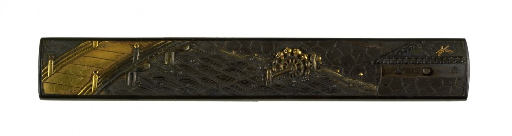Kozuka of a Bridge, Water-wheel and Castle Wall