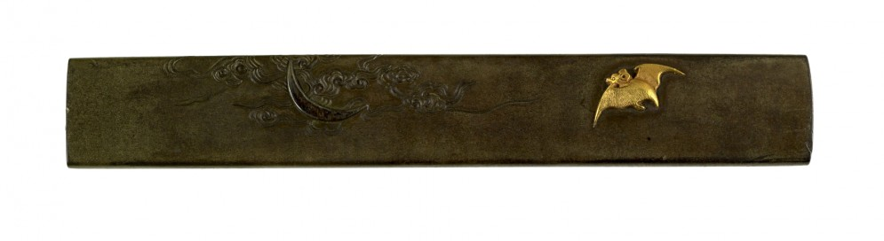Kozuka with a Bat and Crescent Moon in Clouds