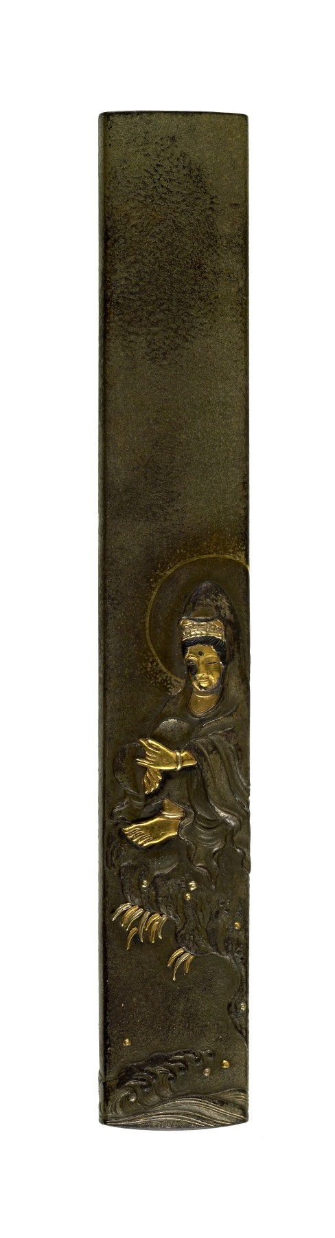 Kozuka with Kannon Sitting on a Rock