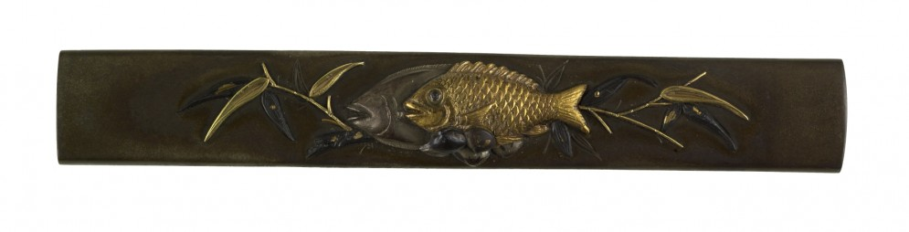 Kozuka with Fish and Shells on Bamboo