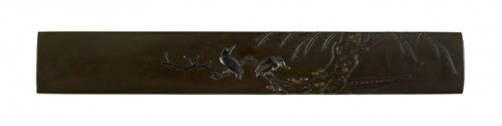 Kozuka with a Crow and Heron in a Willow Tree