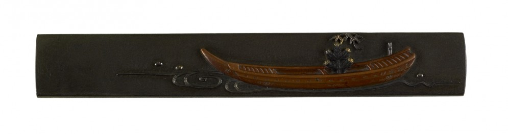 Kozuka with Pine Bough and Bamboo in a Boat