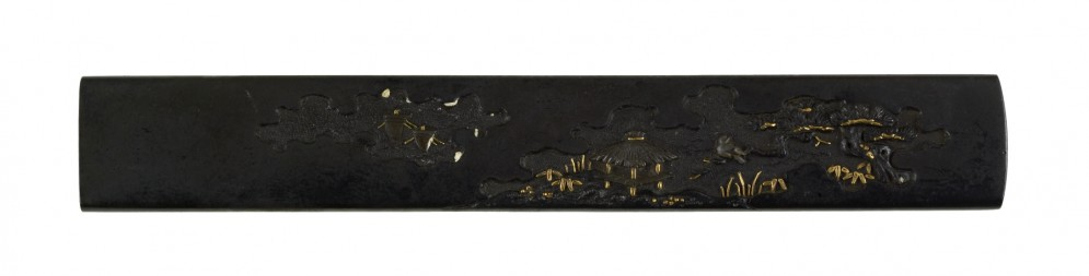 Kozuka with Hut and Boats in a Landscape