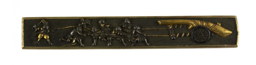 Kozuka with Men Pulling a Tree Trunk on a Cart