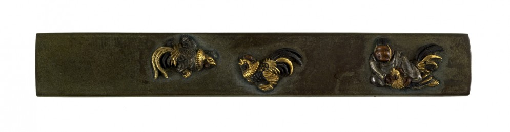 Kozuka with a Man and Three Fighting Cocks