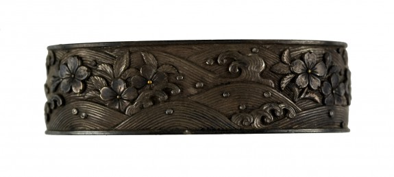 Fuchi with Cherry Blossoms Floating on Waves
