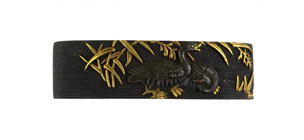 Fuchi with Geese and Bamboo