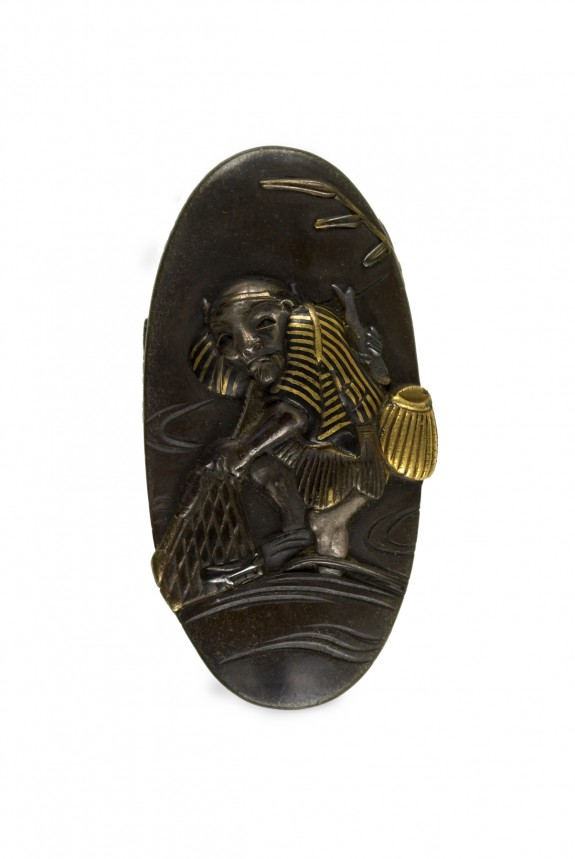 Kashira with a Man Fishing with a Net