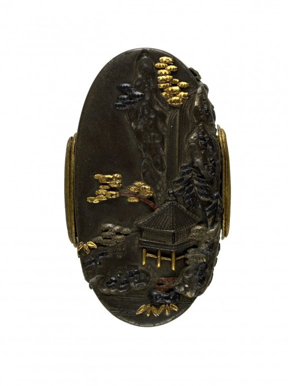 Kashira with Mountain Landscape and Waterfall