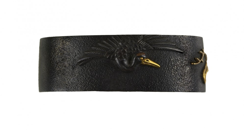 Fuchi with Crane and Reeds