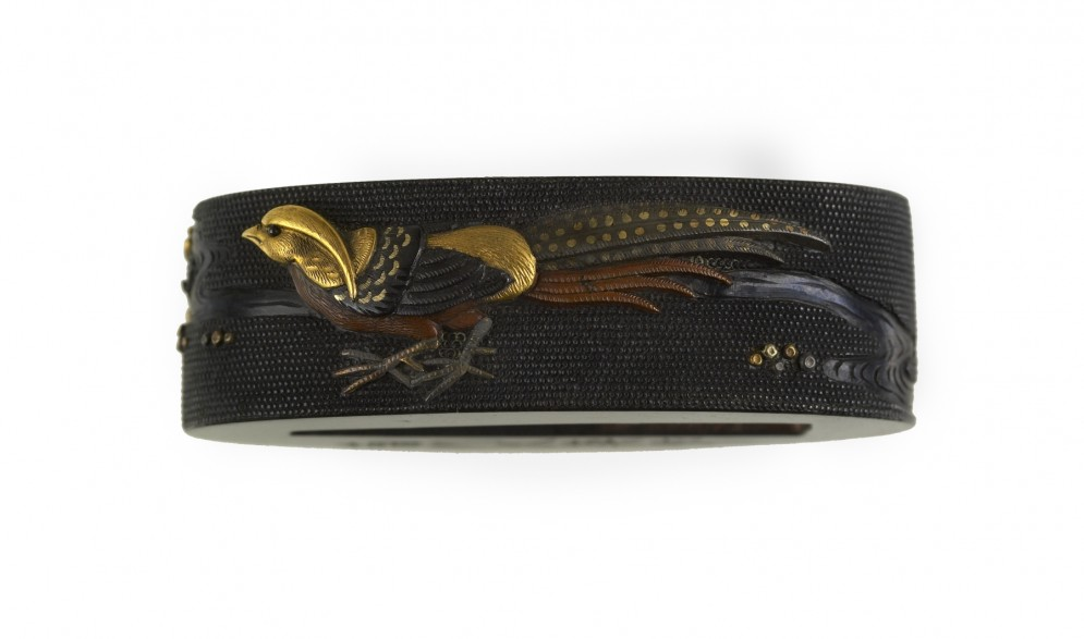 Fuchi with Pheasant and Peonies