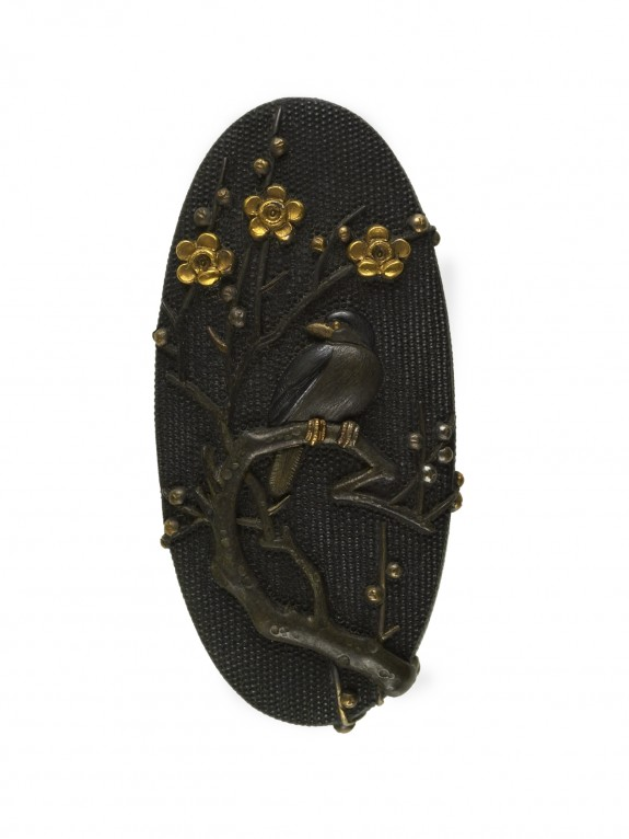 Kashira with a Bird on a Blossoming Plum Branch