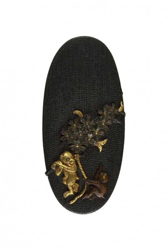 Kashira with Monkeys and a Blossoming Cherry Tree Branch