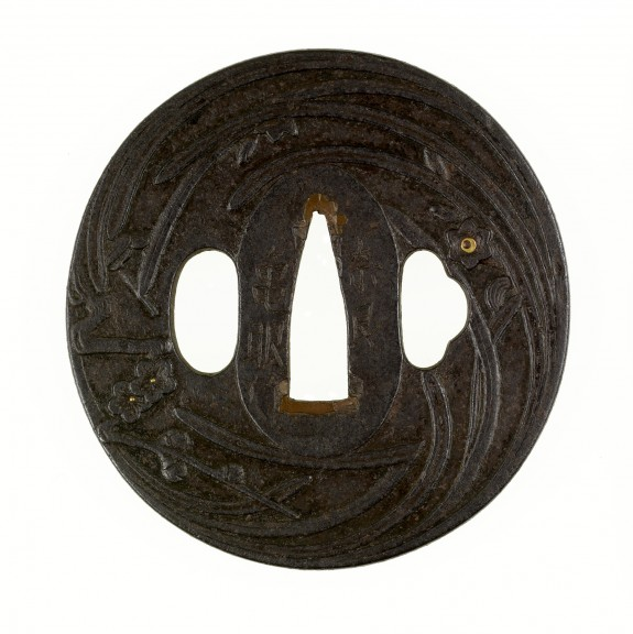 Tsuba with Blossoming Plum and Narcissus