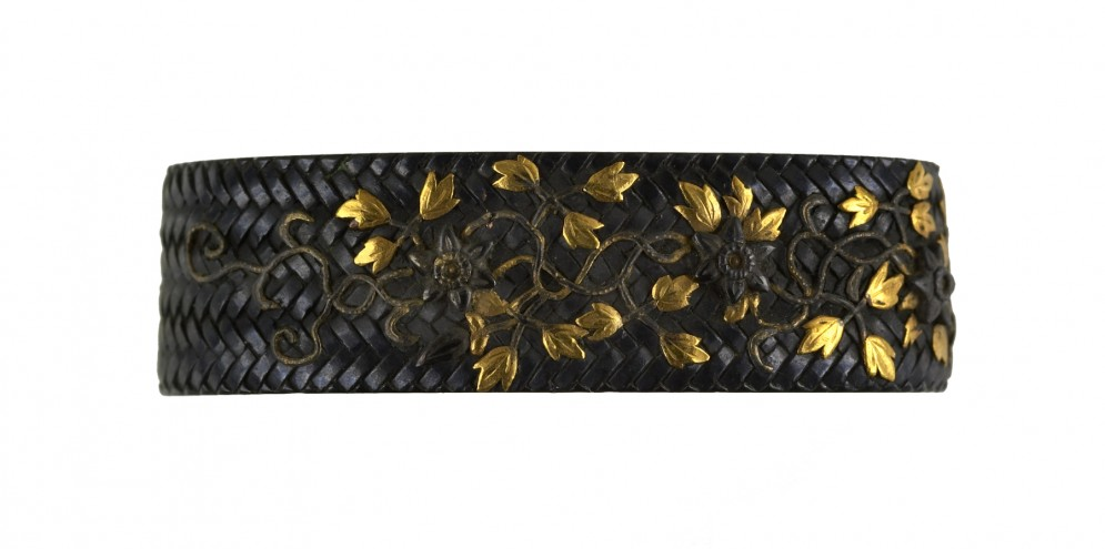 Fuchi with Flowering Clematis Vines and Basket