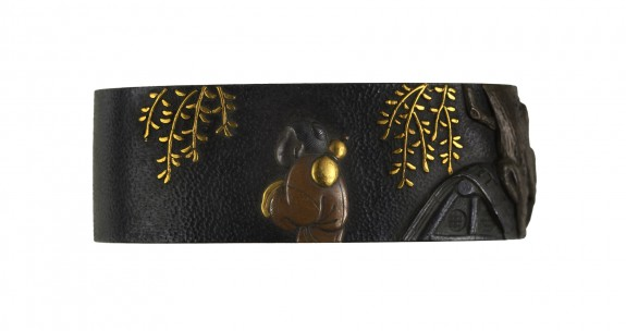 Fuchi with a Man Carrying a Gourd