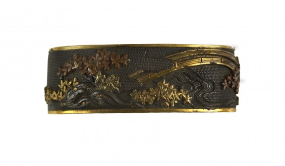 Fuchi with Bridge and Maple Leaves