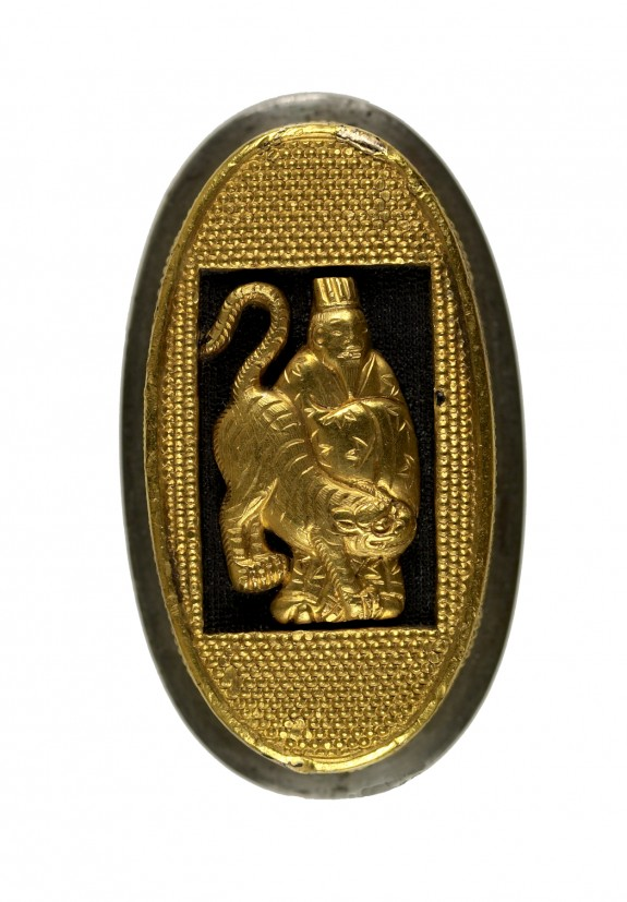 Kashira Remounted as a Box Lid with Taoist Immortal Koreijin