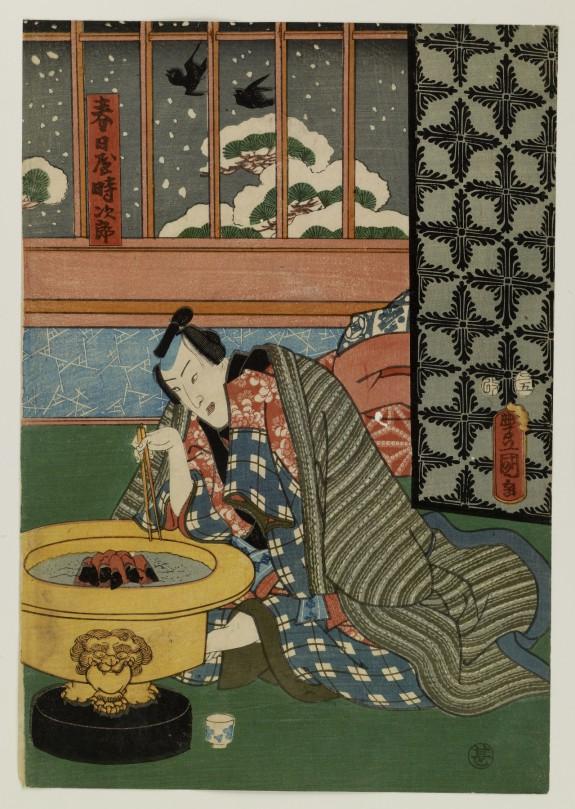 Kasugaya Tokijiro and Yamanaya Urasato by a Hibachi as Snow Falls Outside