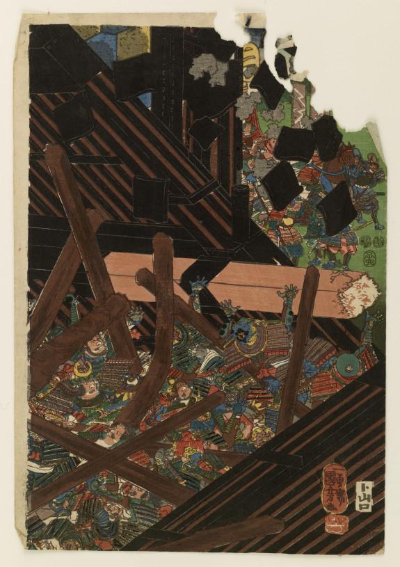 Asahina Saburo Yoshihide breaking down the great gate