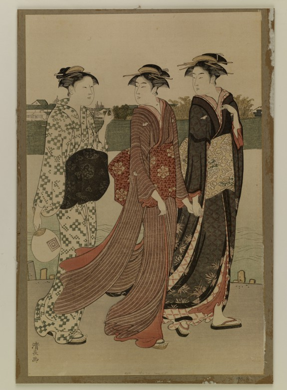 Reproduction: Actor and Two Women Walking by a River