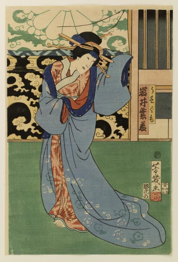 Bando Hikosaburo V, Iwai Shijaku II, and Ichimura Kakitsu IV (?) in an Interior Scene