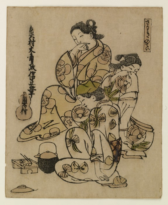 Three Geisha Enjoying a Snack