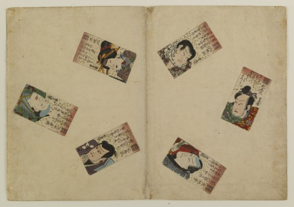 6 Playing Cards with Kabuki Rolls, Poems, Trigrams
