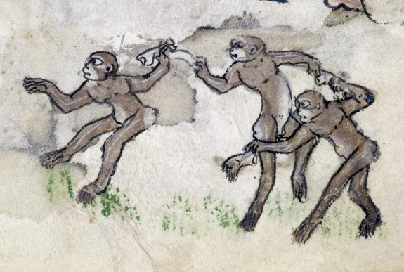 Leaf from Psalter-Hours: Apes Dancing to Ring-around-a-Rosy
