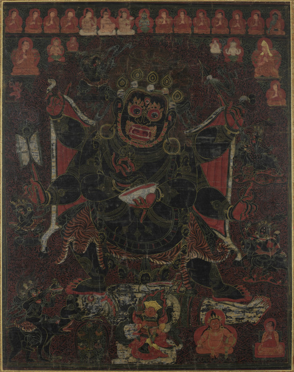 Six-Armed Mahakala with Retinue and Monastic Lineage