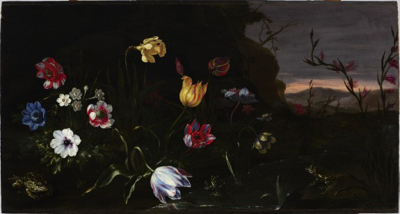 Flowers by a Pond with Frogs