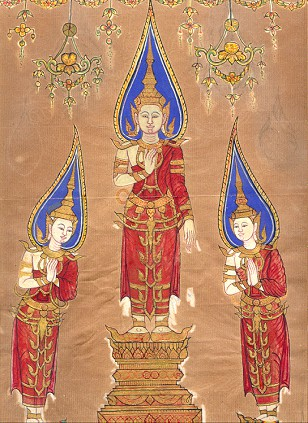 The Buddha with his disciples Sariputta and Moggalana