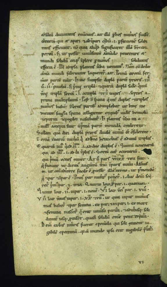 Leaf from Commentarii in Somnium Scipionis: Lambda Diagram of the World-Soul from Plato's Timaeus