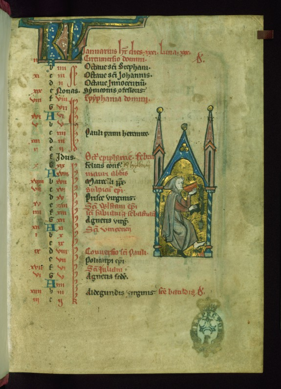 Leaf from Psalter: January Calendar, Man Drinking from a Bowl